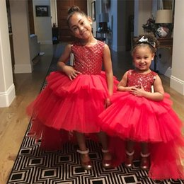 Red Birthday Dresses Australia - Red High Low Flower Girls Dresses Jewel Sequins Lovely Girls Pageant Dress For Toddlers Tiered Skirts Hollow Back Kids Birthday party Gowns