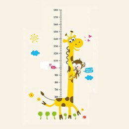 Chart Decorations Australia - Removable PVC Children Wall Stickers Large Cartoon Giraffe Height Growth Chart Decal For Kids Room Decoration