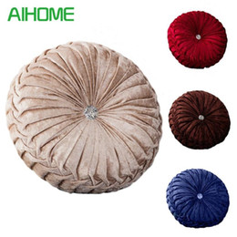 round foam NZ - Velvet + PE Foam Round Chair Cushion Seat Pad For Patio Home Car Office Floor Pillow Insert Filling Memory Foam Tatami Cushion