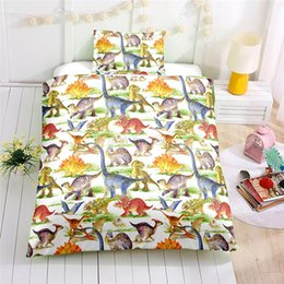 full size kids beds Australia - Cartoon Dinosaur Bedding Set Adult Kids AU EU US Twin Full Queen Single Double Size Duvet Cover Set 2 3pcs Bedclothes Bed Linens