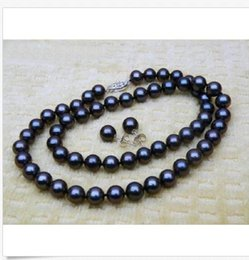 9-10MM BLACK ROUND AAA NATURAL TAHITIAN PEARL PENDANT NECKLACE 14K