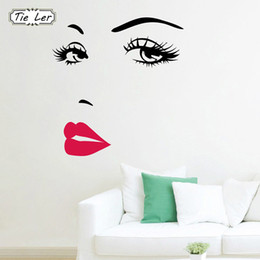 Stickers Girls Bedrooms Australia - Art Decals Girl Lip Eyes Wall Stickers Living Bedroom Decoration DIY Vinyl Decals Art Poster Home Decor PVC Wallpaper