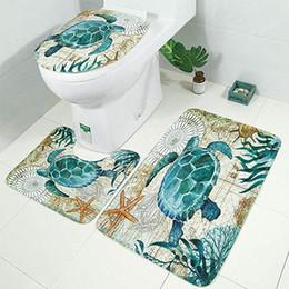 Vente en gros Ensemble de tapis de bain, tapis de salle de bain 3 pièces ensemble housse de siège antidérapant tortues de mer et tapis de toilette pour tapis de bain lavable
