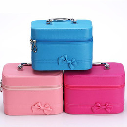 Candies Cases Australia - New Candy Color Portable Makeup Bag Fashion Bow Cosmetic Case Desktop Cosmetic Storage Box
