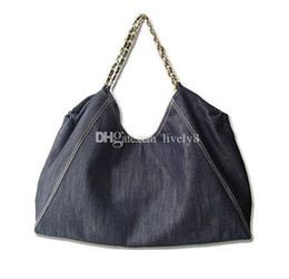 $enCountryForm.capitalKeyWord Canada - Free shipping Fashion Casual Jean Denim Hand Bag Women Big Hobo Handbag Shopper Tote Large Messenger Cross body Shoulder Bag Gold chain bag