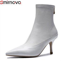 $enCountryForm.capitalKeyWord Australia - Smirnova wholesale 2018 hot fashion ladies boots black white pointed toe genuine leather ankle boots for women sexy dress shoes