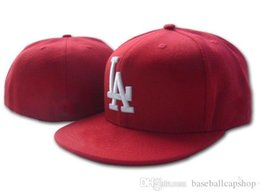 b43c88d7574 La Hat Red NZ - Cheap Red Color LA Fitted hats in Baseball Embroidered Team  LA