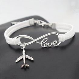 $enCountryForm.capitalKeyWord NZ - 2019 White Leather Suede Charm Bracelets For Men Women New Punk Style Infinity Love Airplane Aircraft Shape Handmade Strap Bangles Nice Gift