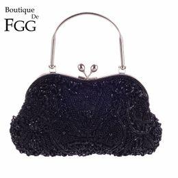 Bag Frames Australia - Hand Made Black Beaded Sequins Women Metal Frame Evening Clutches Purse Bridal Wedding Formal Dinner Chain Shoulder Handbag Bag