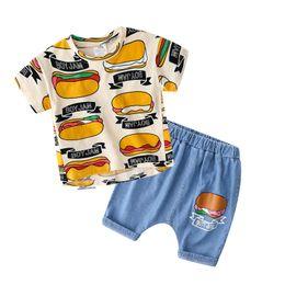 Shirt Vest Jeans Australia - Baby cartoon suit 2019 summer new boy children's wear children's short-sleeved T-shirt jeans tz-4367
