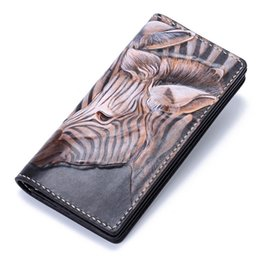 leather carved wallets UK - Handmade Genuine Leather Wallets Carving Zebra Bag Purses Women Men Long Clutch Vegetable Tanned Leather Wallet Card Holder Q0399