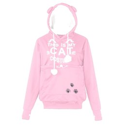 b7f7d1f887ef Women CAT Letter Printed Plus Size Thicker Velvet Hoodie Drawstring  Sweatshirt Comfortable Pockets Long sleeves top New Arrival