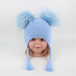 ad9b2a609e3c 6 Colors Children Cute Winter Hats Two Faux Raccoon Fur Pompom Hat Baby Knitted  Cap Warm Ears Earflap Thick Kids Beanies CCA10952 10pcs