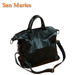 $enCountryForm.capitalKeyWord Australia - San Maries Black Cowhide Leather Handbags Big Women Bag England Style Female Bags Brand Shoulder Bag Ladies Large Bolsos