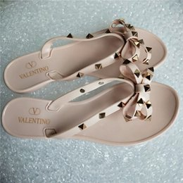 Women casual sandal online shopping - Brand New Women Summer fashion Sandals Rivets Big Bowknot Flip Flops Beach Sandalias Femininas Flat Jelly Woman g Non slip girl Sandals