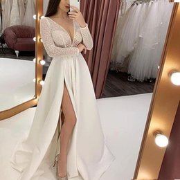 $enCountryForm.capitalKeyWord Australia - In Stock V Neck Beading Evening Dress Back Lace Up Evening Dress with Slit Evening Gown Cheap 2019 Long Prom Formal Dress Robe De Soiree