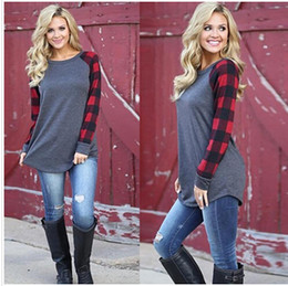 Wholesale 2019 Plaid Panel Raglan Long Sleeve T shirt for Women Autumn Winter Casual Shirt Blue Plus Size S XL