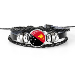 Wholesale Hot Sale Genuine Black Leather Rope Beaded DIY Bracelet Bangles Glass Cabochon Papua New Guinea National Flag World Cup Football Fan Jewelry