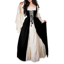 medieval women clothing UK - Luxury 2019 Autumn Vestidos Ruffle Sleeve Long Dress Medieval Patchwork Women Dress Retro Tunic Party Dress Costume Clothes