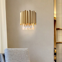 gold wall lighting NZ - Luxury American creative crystal wall lamps wall lighting fixture gold wall mount lights led sconce light for bedside hallway corridor