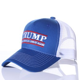 10e4e895588a9 50PCS Donald Trump Baseball Caps Vote Trump Logo American Flag Mesh Hat  Solid Adjustable Snapback Men Women Trucker Hat