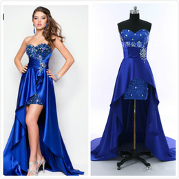 $enCountryForm.capitalKeyWord Australia - Real Picture Short Front Long Back Prom Dresses Royal Blue Champagne Cheap Cocktail Party Dress With Beaded Sequins Arabic Long Evening Gown