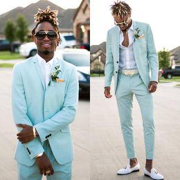 Plaid Brown Mens Suit Jacket Australia - Mint Green Mens Suits Slim Fit Two Pieces Summer Beach Groomsmen Wedding Tuxedos For Men Peaked Lapel Spring Formal Prom Suit (Jacket+Pants)