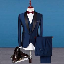 Cheap Black Suits For Men Australia - 2019 Hot Sale Navy Black Cheap Wedding Suits Tuxedos for Groom 5 Pieces(Jacket+trousers+vest+shirt+tie) Business Men Formal Party Wear Suits