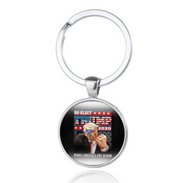 golden time 2020 - 6 styles Trump 2020 keychain Time Gem Flag Key Chain Metal REELECT trump pendant Key Ring Gift Key Holder Jewelry Wholes