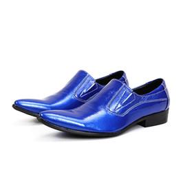 $enCountryForm.capitalKeyWord NZ - Fashion Blue Black White Men Dress Shoes Leather Men Oxfords Slip On Pointed Toe Business Men Shoes Wedding Party Dress Shoes