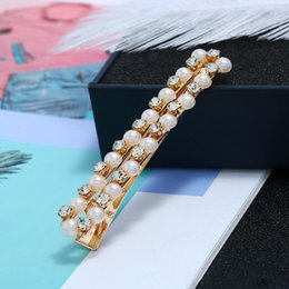 Pearl Gold Hair Clips Australia - Sweet Imitation Pearl Rhinestone Hair Clip For Women Simple Rectangle Alloy Gold Plated Barrettes Fashion Hair Jewelry Accessories Wholesale