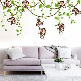 Ingrosso Rimovibile Vinile Scimmia Camera da letto Adesivo Decalcomanie Murale Giungla Nursery Monkey Kid Room Decoartion Home Decor