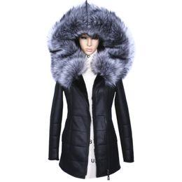 9a8c1938bce 2017 Winter Jacket Women Thick Artificial Coats Fashion Slim Faux Suede Leather  Female Models Artificial Fox Fur Collar Outwear