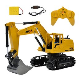 toy models cars trucks 2019 - iPiggy 1:24 8CH Simulation RC Excavator Toys RC Truck Toy Engineering Car Tractor Crawler Digger Model for Children Gift