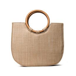 Knitted Ladies Handbags Australia - good quality Bohemian Summer Straw Bag Wood Handbag Ladies Beach String Ring Wooden Handle Casual Tote Knitting Woven Bolsa Rattan Bag