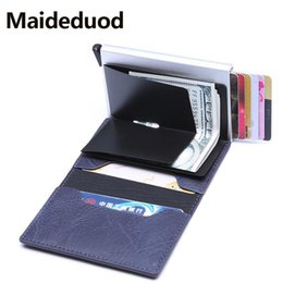 $enCountryForm.capitalKeyWord Australia - NEW ID Card holder PU Leather Credit Card Holder Rfid Blocking Wallet Security Aluminum Metal Purse creditcard holder Case