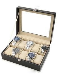 $enCountryForm.capitalKeyWord NZ - Wholesale-Free shipping 1Pcs Black PUleather 10Grid professional Wrist Watch Display Box Jewelry Storage Holder Organizer Case Quality