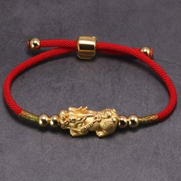Wholesale Lucky Red Rope Bracelets Sterling Silver Pixiu Gold Color Tibetan Buddhist Knots Adjustable Charm Bracelet For Women Y19051403