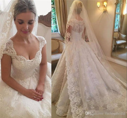 $enCountryForm.capitalKeyWord Australia - Rustic A-line Cap Sleeved Wedding Dresses Short Sleeves Appliqued Lace Bridal Dresses with Buttons Sheer Back Princess Wedding Gowns