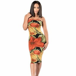 2019 New Sexy Strapless Bodycon Dress Knee Length Flower Printing Bandage  Dress Slim Print Party Ladies Dresses b01b15e09
