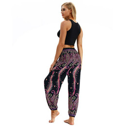 Wholesale ethnic pants woman for sale – dress Women Lantern Yoga Pant Updated comfortable Soft Dancing Sport Ethnic Wide leg pants Thailand Elastic Dancing Loose Fit Trousers