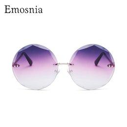 Gradient Color Sunglasses Australia - wholesale Rimless Round Sunglasses For Female Metal UV400 Shades Gradient Color Pink Top Sun Glasses Purple Blue Women Unisex New