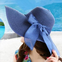 332506bc 2019 new hot sale comfortable wild flat straw hat female spring and summer  bow small hat British retro shade beach tide