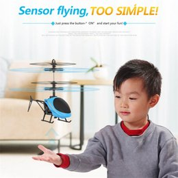 toy helicopter induction Australia - Kids Toys Hot Sale High Quality Flying Helicopter Mini RC Infrared Induction Aircraft Flashing Light Night Market Drone Toys Christmas Gifts
