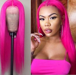 Wholesale Rose pink red colored colorful peruvian puruvian pervian straight hair lace frontal Wigs For black Women Bleached Knots coco lady ishow in