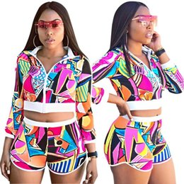 $enCountryForm.capitalKeyWord Australia - Womens Two Piece Set Outfits short sleeve sportswear Tracksuit Sexy Jogging Sports shorts cardigan Suit Sportswear women clothes klw1151
