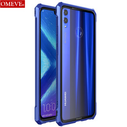 tempered glass metal frame NZ - wholesale Aluminum Metal Frame and Transparent Tempered Glass Back Cover Bumper Case for Huawei Honor 8X  8X Max Enjoy Max