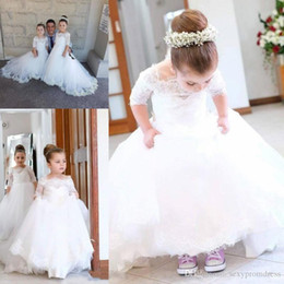Wedding Vest Pink Australia - White Lace And Tulle Flower Girl Dresses For Wedding Half Long Sleeves Lace Applique Girls Pageant Gowns For Baby Birthday Party