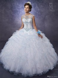 $enCountryForm.capitalKeyWord NZ - Ivory Ruffled Ball Gown Quinceanera Dresses with Red Pencil Trim Beaded Sheer Neck Puffy Sweet 15 16 Dress with Basque Waistline