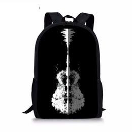 Polyester Guitar NZ - Women Black Backpacks Starry sky Guitar Printing Men Cool Children Pencil Messenger for Boys Suit Custom Travel Laptop Backpack